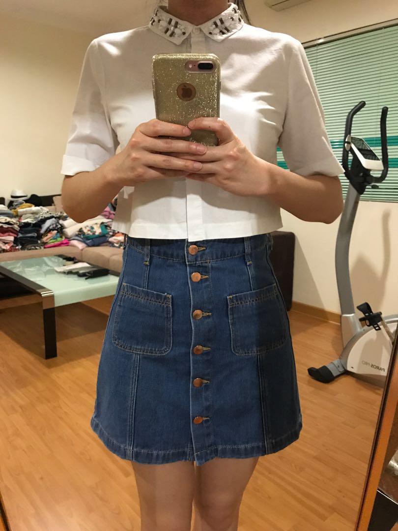 H&M high waist Denim Skirt