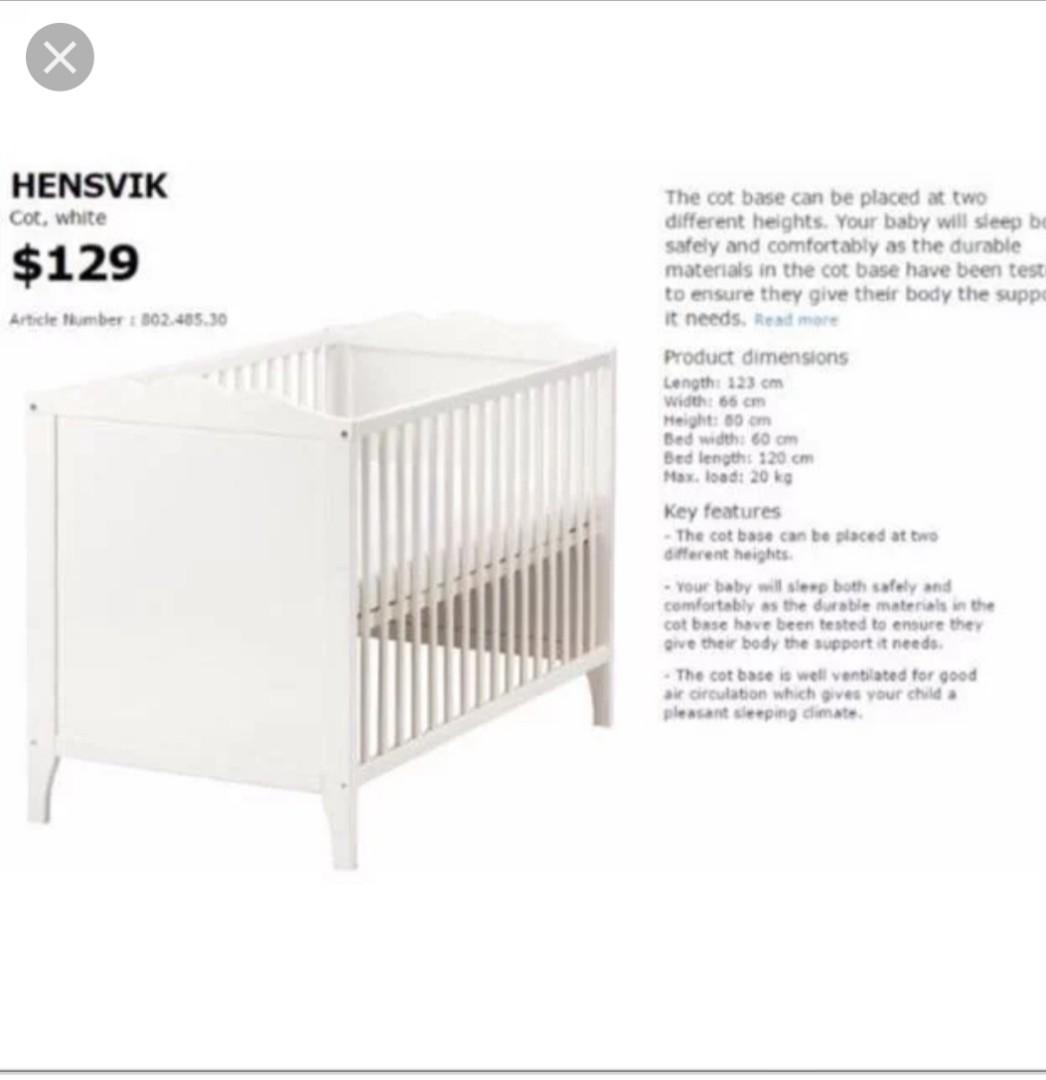 Ikea Hensvik Baby Cot Babies Kids Cots Cribs On Carousell