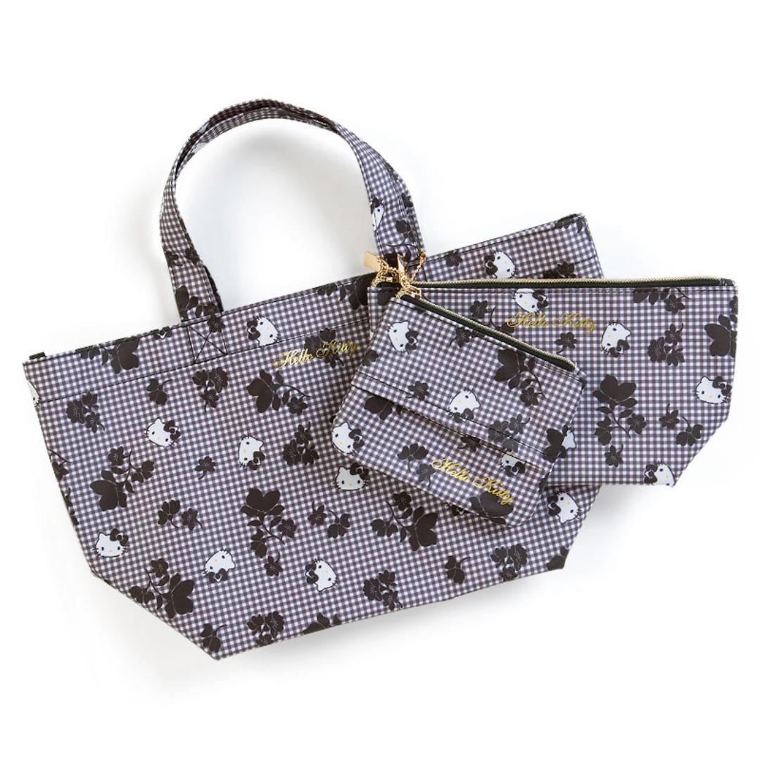 e2721c1a184 Japan Sanrio Hello Kitty Handbag Bag & 2 Pouch (Black), Women's ...