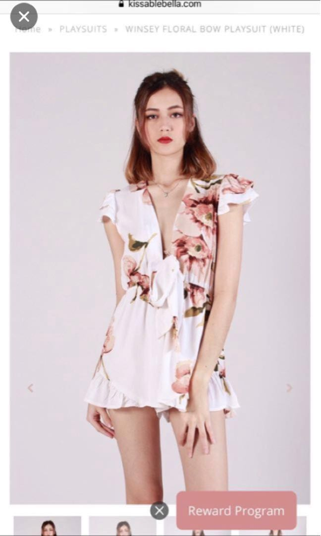8a37ce735e9 Kissablebella Winsey Floral Bow Playsuit