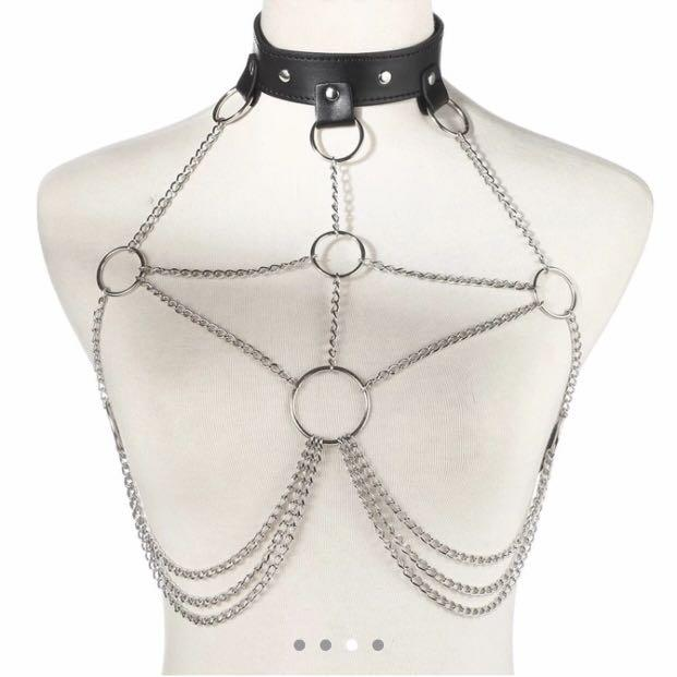 Leather festival harness/ body chain