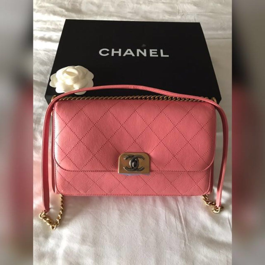 b057a49b8c23 LNIB Chanel Flap Bag Straight Line Pink Calfskin Brushed GHW (Full ...