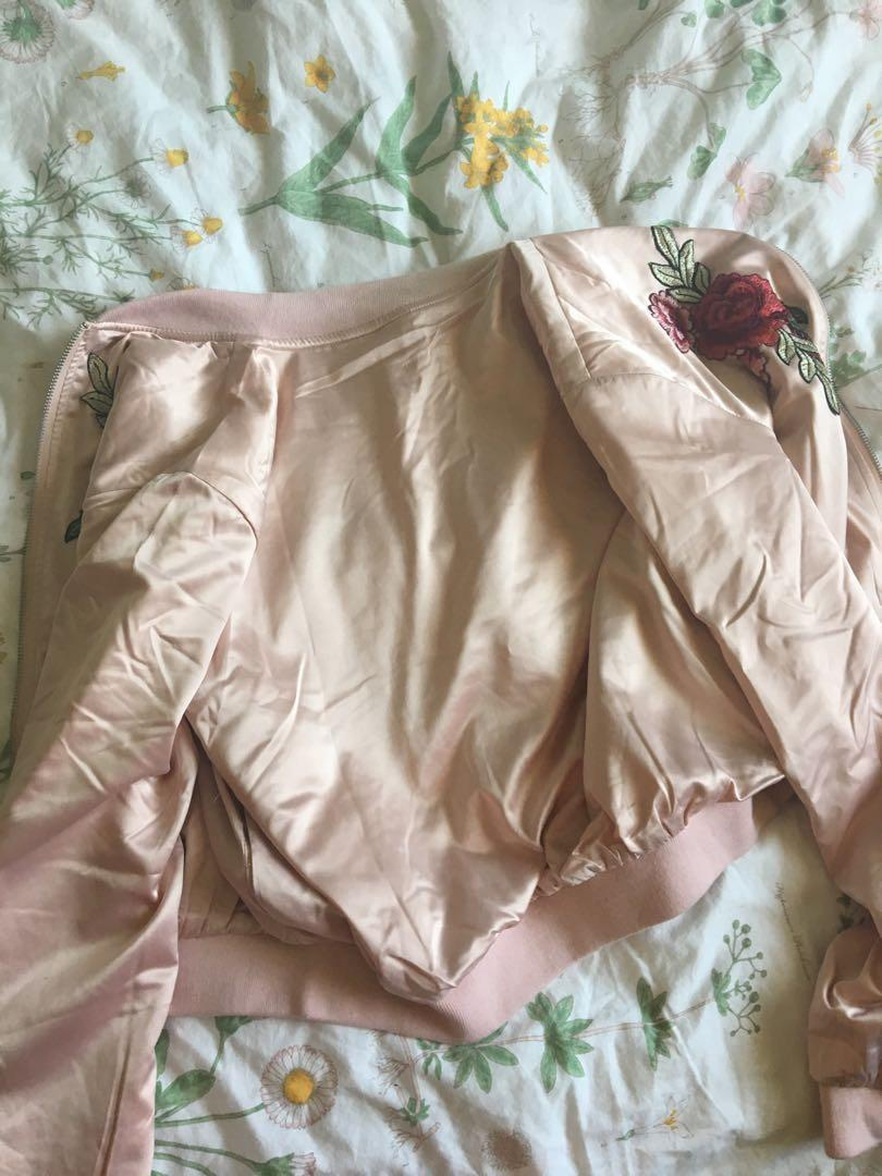 Millions and trillions light pink, rose embroidered bomber jacket.