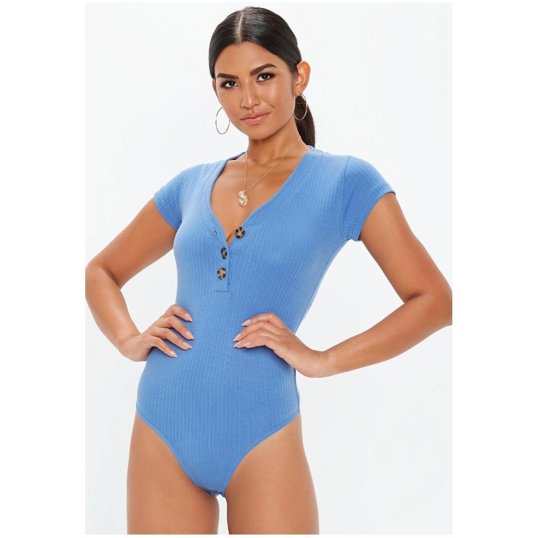 NEW blue button front bodysuit