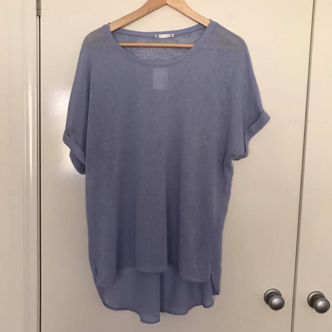 NWT Size 10 like 12 14 Target blue sheer lightweight knit short sleeve top