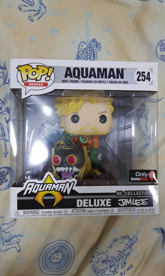 : Aquaman x POP Heroes Vinyl Figure GameStop Exclusive Deluxe DC Collection by Jim Lee Funko Aquaman