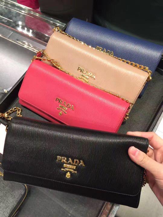 72628cdff47d Prada Saffiano Leather Wallet on Chain