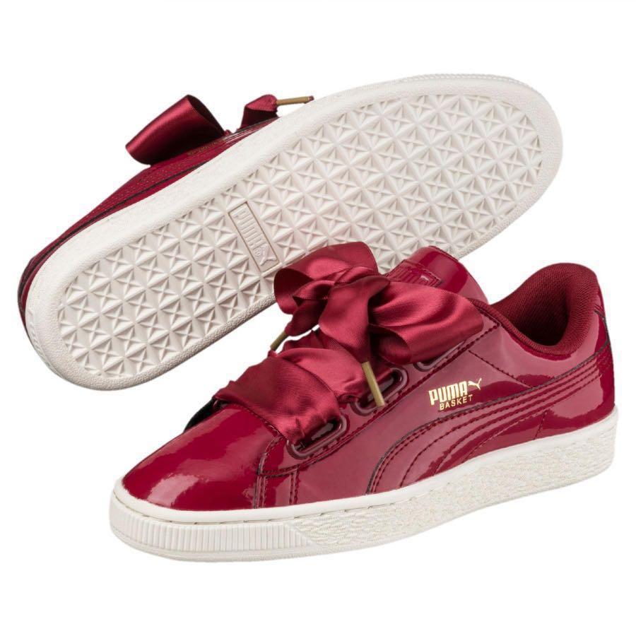 f2035de5de9dd5 Puma Basket Heart Patent Low Top Sneakers Tibetan Red
