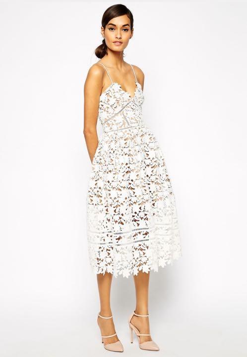 61c124378567 Self Portrait Inspired Azaelea White Lace Dress, Women's Fashion ...