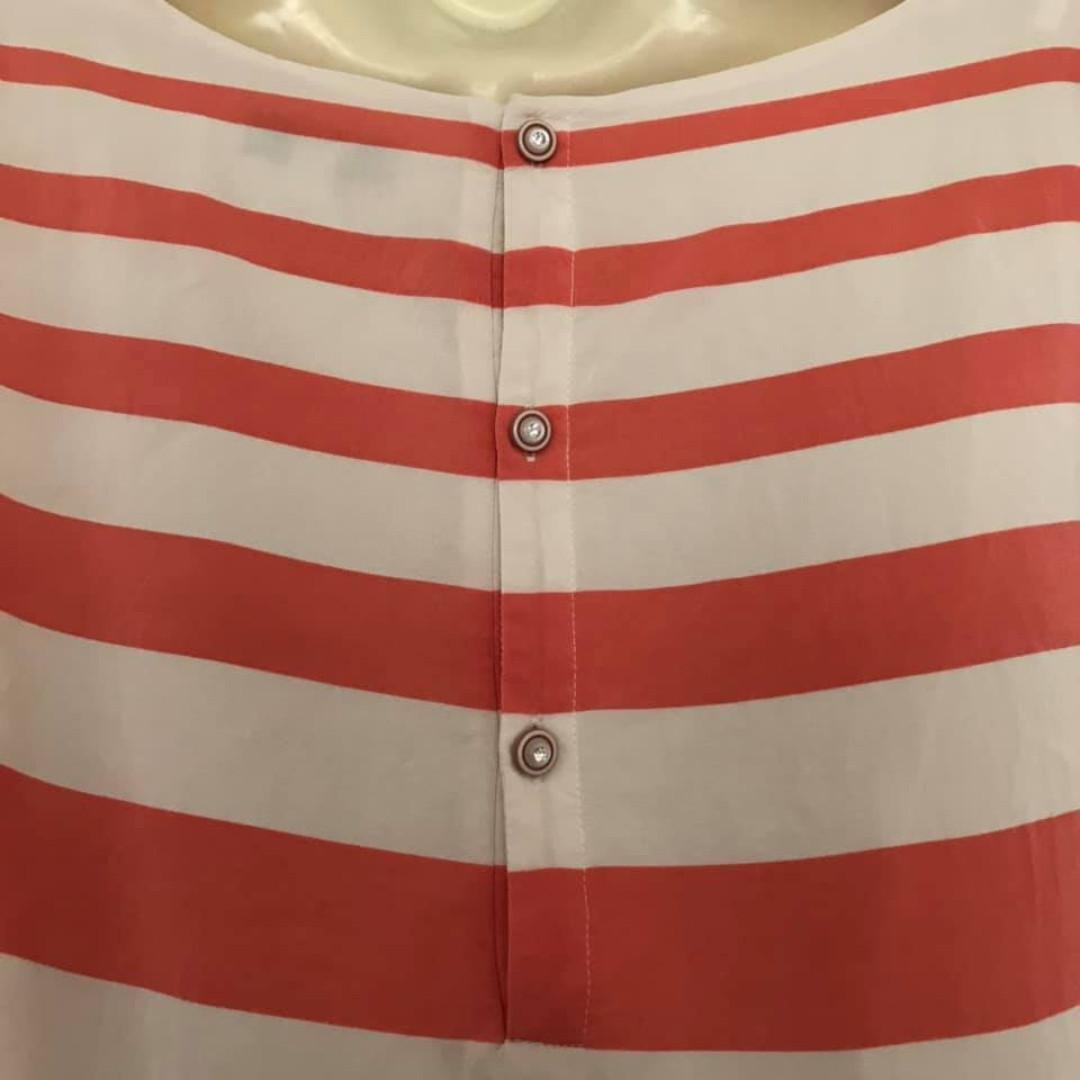 Size 10 Euc Forever New peach white Stripe mini short dress