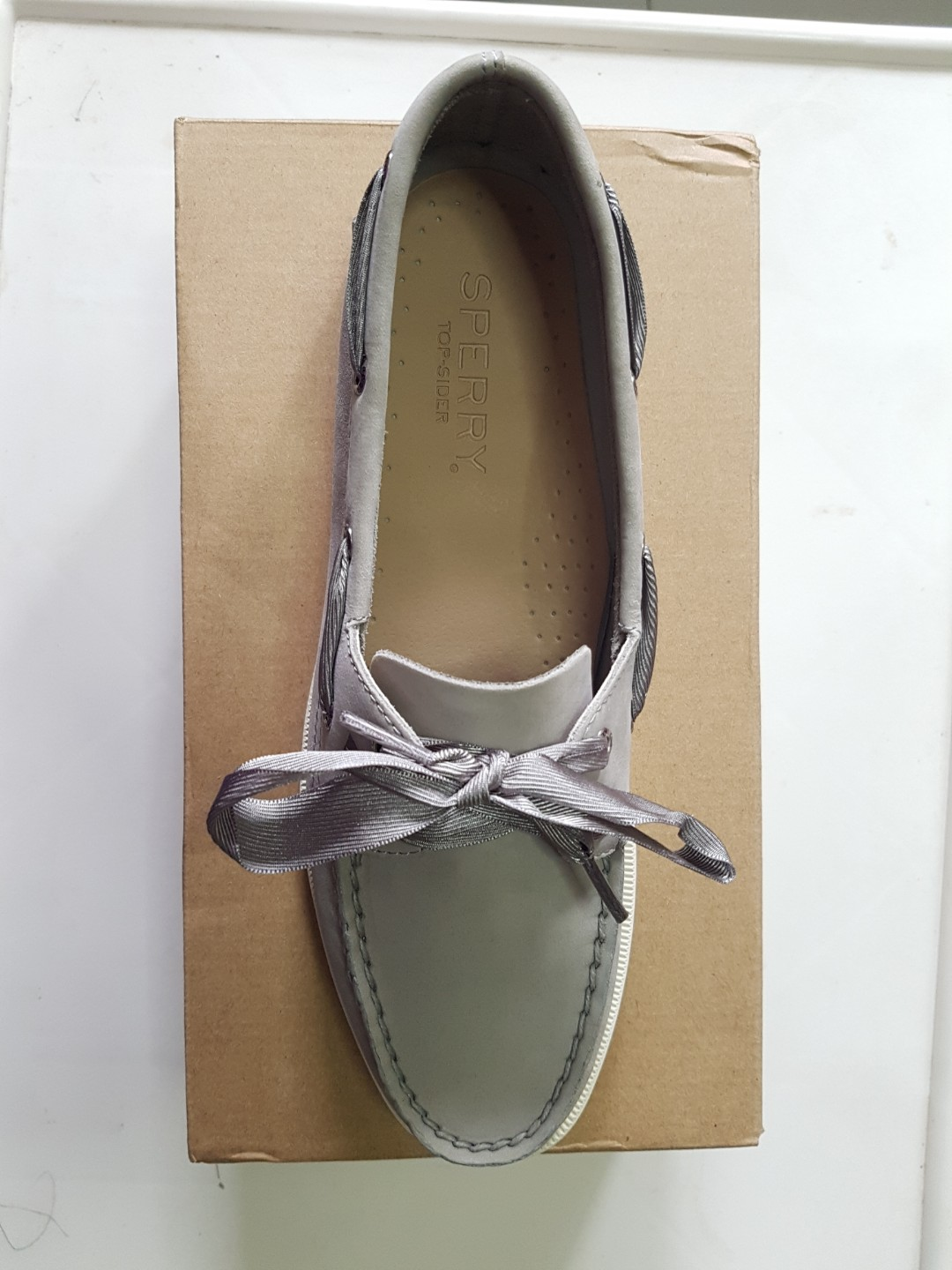Sperry S Women Authentic Original Satin Lace Grey Boat Shoe