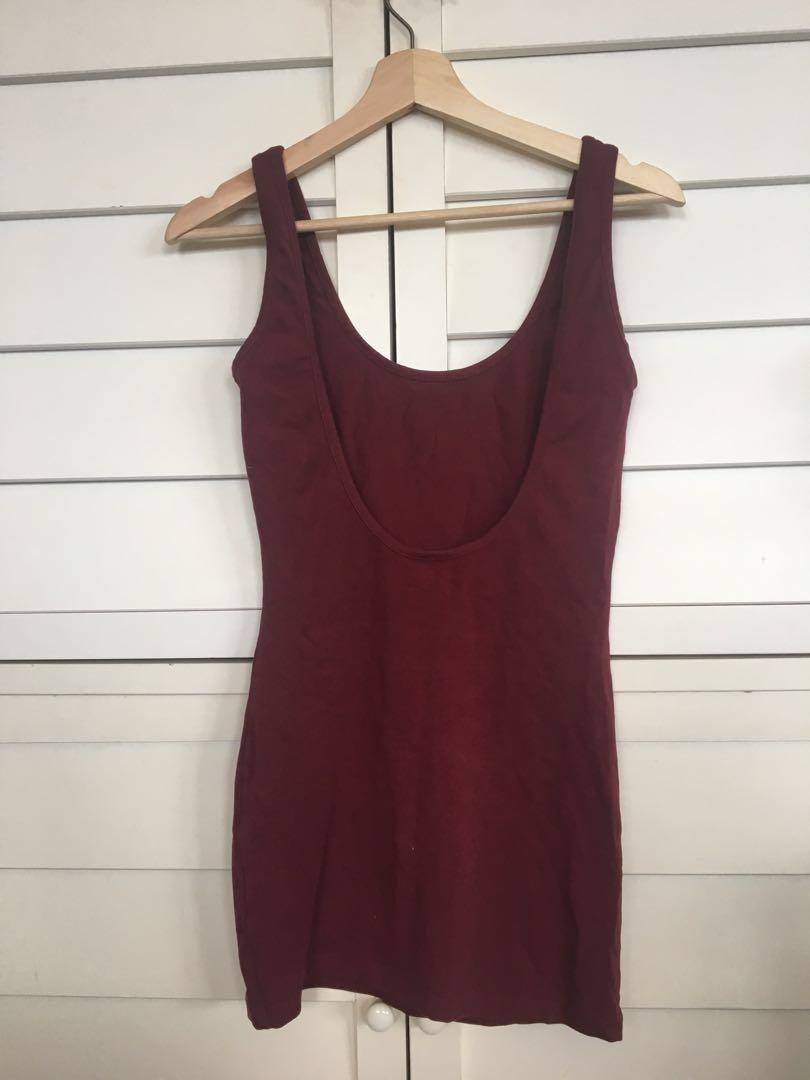 Tight maroon backless singlet dress or top