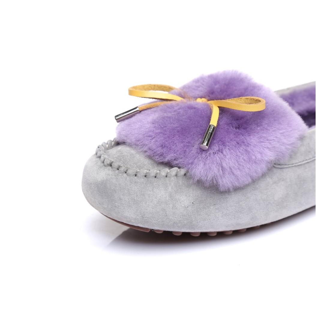 UGG Ladies Fluffy Moccasin Flat Casual Shoes Australian Sheepskin Ballet Loafers Boat Slip On