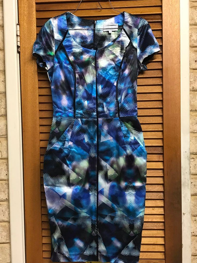 VERONIKA MAINE Blue digital print dress - size 8 - BNWOT NEW