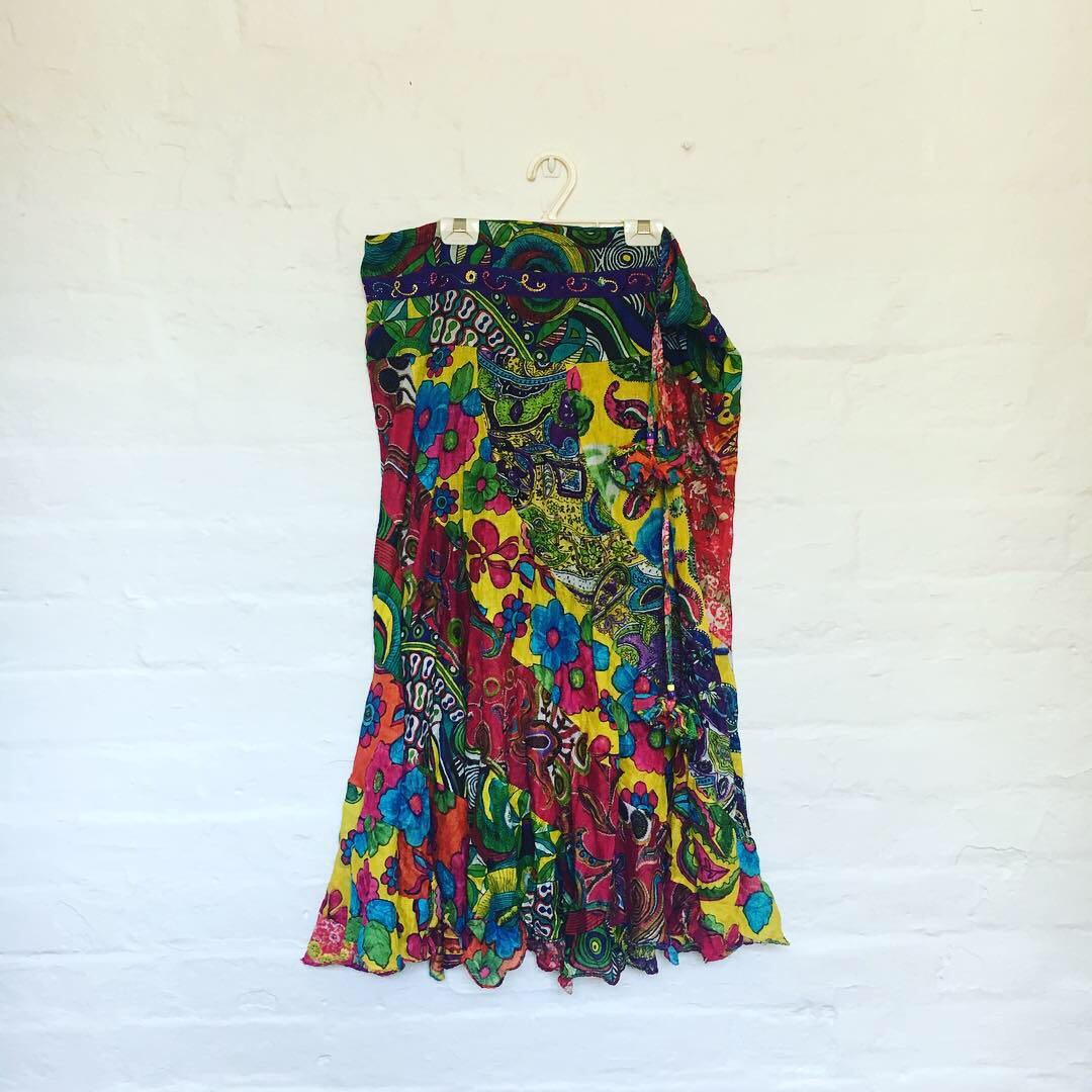 Vintage Bohemian Tie Up Colourful Skirt | Tassel Details