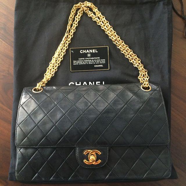 55d581568eb9 Vintage Chanel Double Flap GHW CC Mademoiselle Chain Black Bag ...