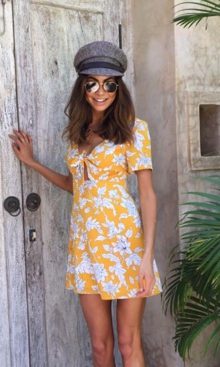 Yellow and a White Mini Dress