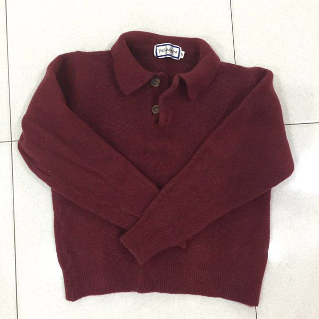 1312258692a YSL Maroon Sweater , Women's Fashion, Clothes, Outerwear on Carousell