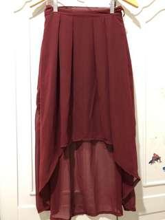 Hi lo maroon skirt