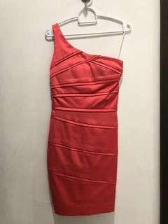 Melon red/ orange colour bodycon dress