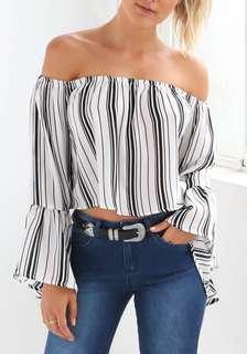 Striped White Off Shoulder Top