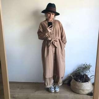 正韓 代官山中山領排釦改良式兩穿外套洋裝(售駝色)