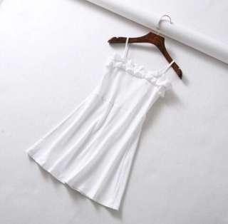 White Ribbed Spag Dress
