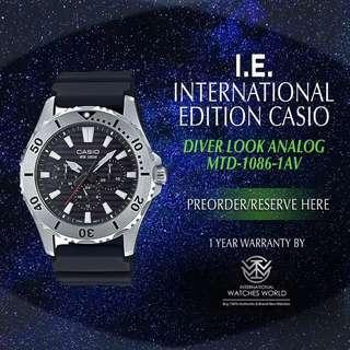CASIO INTERNATIONAL EDITION DIVER LOOK SERIES MTD-1086-1AV BLACK