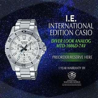 CASIO INTERNATIONAL EDITION DIVER LOOK SERIES WHITE MTD-1086D-7AV STAINLESS STEEL BRACELET
