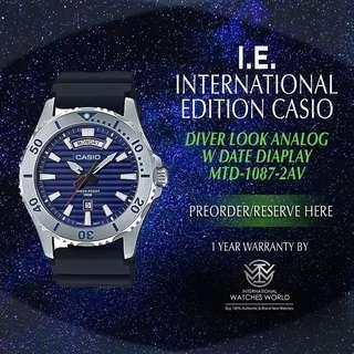 CASIO INTERNATIONAL EDITION BLUE DIVER LOOK SERIES MTD-1087-2AV WITH DATE