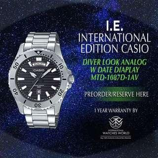 CASIO INTERNATIONAL EDITION MARINE SPORT SERIES WITH DATE MTD-1087D-1AV STAINLESS STEEL BRACELET