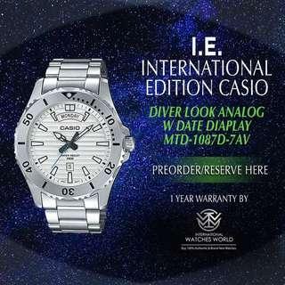 CASIO INTERNATIONAL EDITION MARINE SPORT SERIES WHITE WITH DATE STAINLESS STEEL BRACELET MTD-1087D-7AV