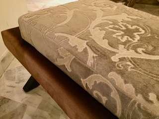 Fine Custom Ottoman Bench; European Velvet Upholstery.