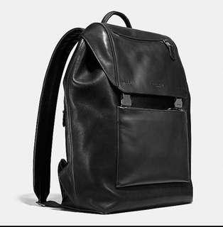 Coach Men's Large Black Leather Manhattan Backpack Brand New