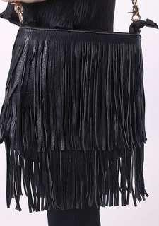 fringe black bag