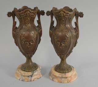 Pair of Fine Bronze Vases with Marble Base; European c. 1910/1920s.