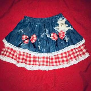Cute little denim and gingham skirt with elastic waist