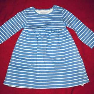 Blue Zoo Debenhams thick blue and white cotton dress VERY CUTE 12-18 months