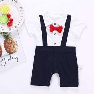 🚚 ✔️STOCK - CNY RED BOW RIBBON SUSPENDER BUTTON ROMPER PANTS NEWBORN BABY TODDLER BOYS KIDS CHILDREN CLOTHING