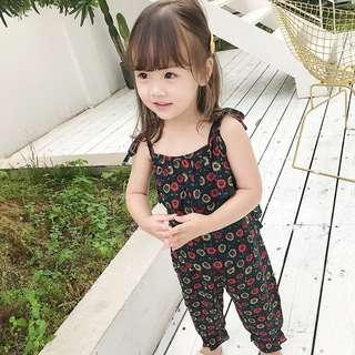 🚚 ✔️STOCK - VINTAGE BLACK RED CNY FLORAL ACCENTS SLEEVELESS OVERALL JUMPSUIT NEWBORN BABY TODDLER GIRLS ROMPER KIDS CHILDREN CLOTHING