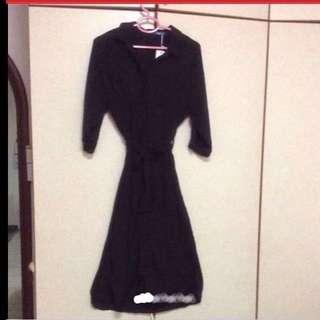 $49.95 Sexy Black Collared Flare Dress with Elegant slits shoulder sleeves ( Brand New With Tag )
