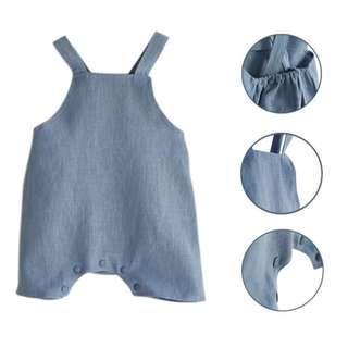 🚚 ✔️STOCK - COTTON LINEN BLUE SLEEVELESS JUMPER STRAP ROMPER PANTS NEWBORN TODDLER BABY BOYS KIDS CASUAL JUMPSUIT CHILDREN CLOTHING