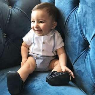 🚚 ✔️STOCK - SUPENDER BLUE PIN STRIPE OVERALL ROMPER ONESIE NEWBORN TODDLER BABY BOYS KIDS CHILDREN CLOTHING