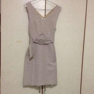 Elegant Checkered Smart V-Neck Dress ( Brand New With Price Tag)