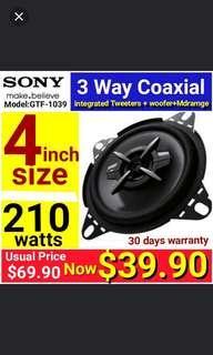 SONY 4 inch 3 way Car Speakers 210watts Coaxial Speakers for car/Vans/lorries & Audio hobbyist.  (Integrated Tweeters + Woofers + MidRange drivers)