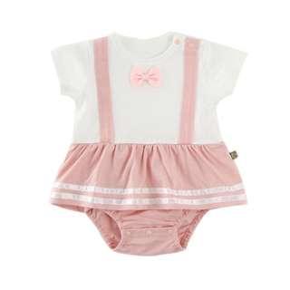 🚚 ✔️STOCK - PASTEL PINK BOW RIBBON OVERALL ONESIE WITH RUFFLE FLARE DRESS NEWBORN BABY TODDLER GIRLS ROMPER KIDS CHILDREN CLOTHING