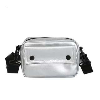 SILVER POUCH WITH STRAP