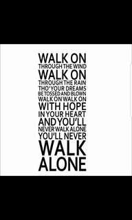 ( White color ) ✔Instock Liverpool Inspirational You'll Never Walk Alone Quotes Wall Stickers diy home Decor ⭕Size see pic 2