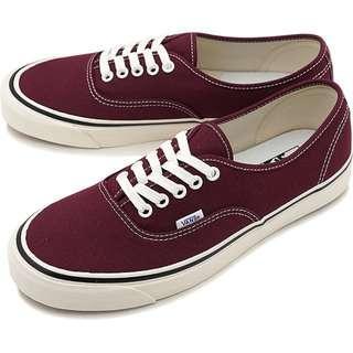 VANS Authentic Burgundy Red Maroon White Sole Canvas Rubber Skate Shoes