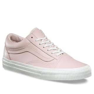 VANS Old Skool Baby Pink Leather Embossed Detail White Sole Old School Skate Shoes